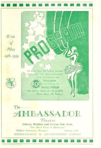 Ambassador Theatre Baltimore Program