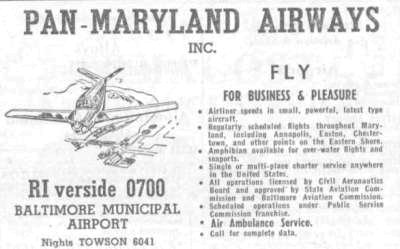 Pan Maryland Airways, Baltimore