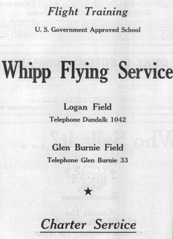 Whipps Flying Service Baltimore 1940