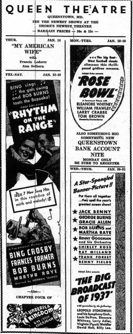 Queen               Theatre Ad , Queenstown Maryland