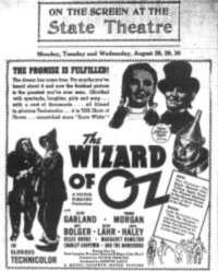 Wizard of Oz Ad - State Theatre Havre de Grace                 Maryland