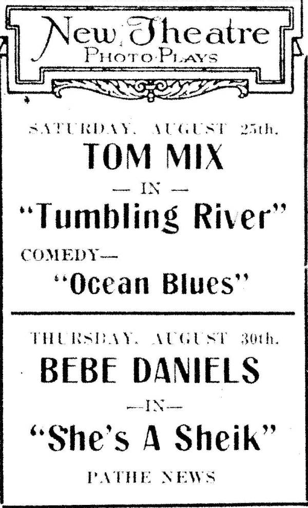 New                 theatre Ad , Taneytown Maryland 1920s