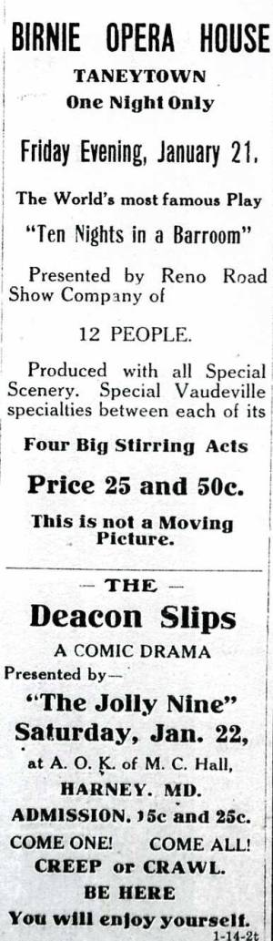 Birnie Opera House, Taneytown Maryland 1927 ad