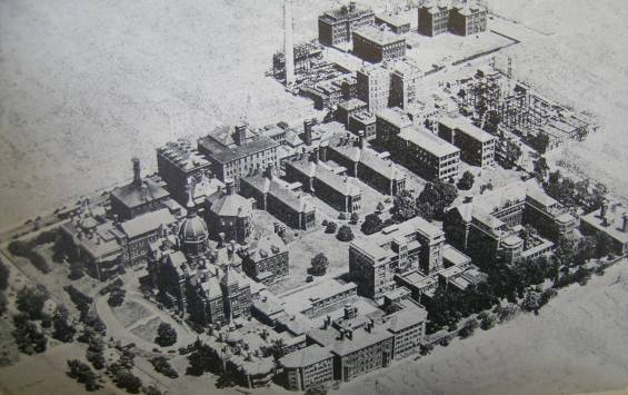 Johns Hopkins Hospital, aerial old view Baltimore