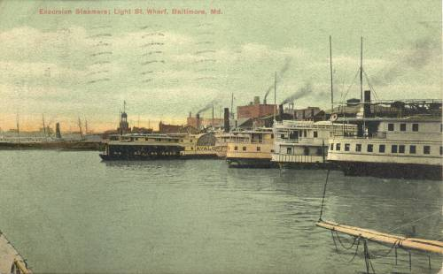 Excursion boats at Baltimore docks