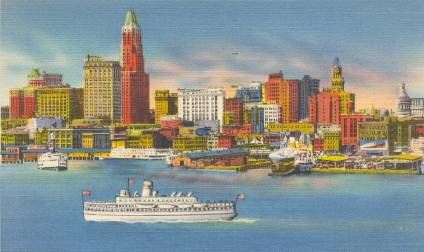 Baltimore Harbor Scene Postcard